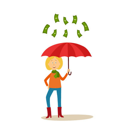 Flat cartoon girl standing under money rain vector illustration. Illustration