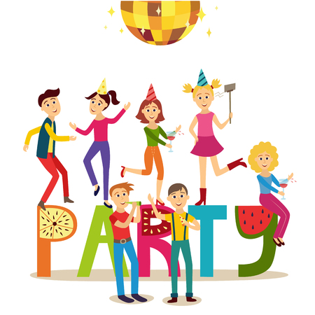 Flat girls and young men in a party vector illustration. Illustration