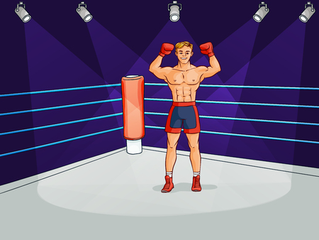 Cartoon muscular strong handsome boxer vector illustration.