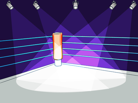 Flat cartoon boxing club ring vector illustration.