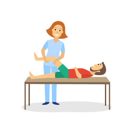 Physical therapy for disabled patient vector illustration.