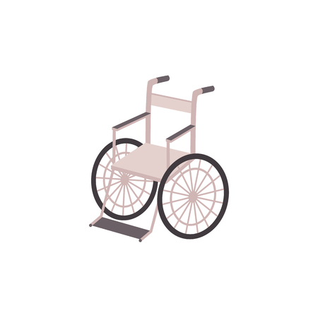 invalid: Lightweight metal wheelchair vector illustration.