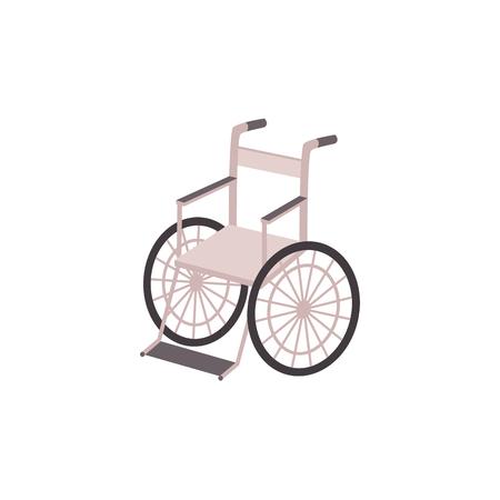 Lightweight metal wheelchair vector illustration.