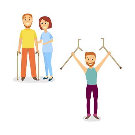 Flat rehabilitation scenes set vector illustration.