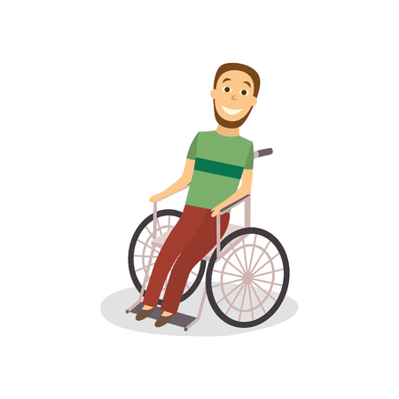 Flat bearded adult disabled man sitting in wheelchair smiling vector illustration. Illustration
