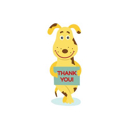 Piatto stilizzato umanizzato carattere cane illustrazione vettoriale.