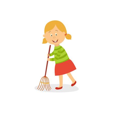 Little girl sweeping floor with big broom vector illustration.