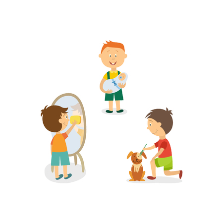 babysit: Little boy nursing his little sibling, washing mirror, and grooming a dog vector illustration.