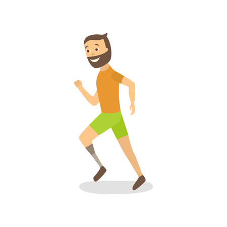 Flat bearded disabled man athlete running with handicap vector illustration.