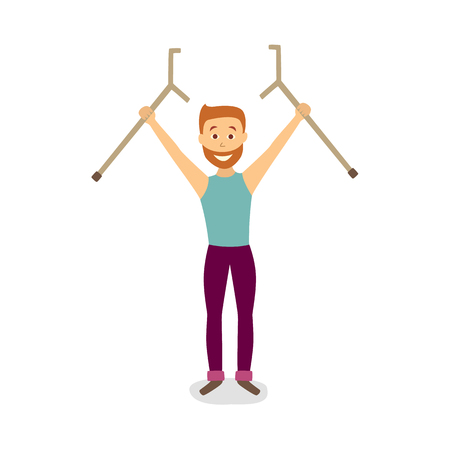 Flat bearded adult man raising his crutches vector illustration. Illusztráció