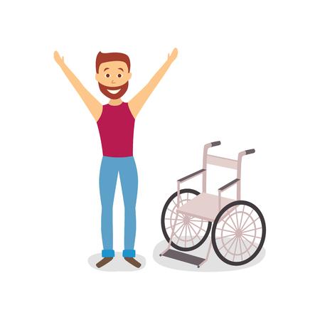 フラットは大人生やした車椅子ベクトル図の近くに立っています。
