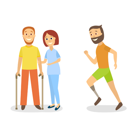 People handicap with doctor vector illustration.