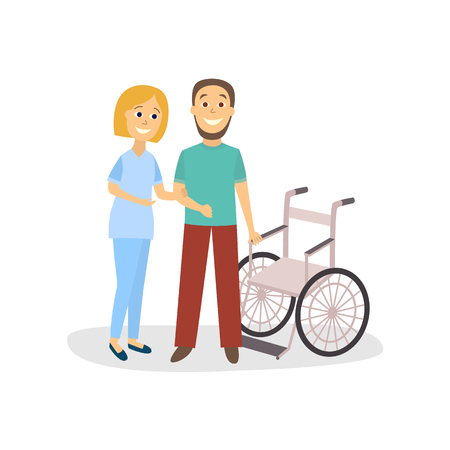 Flat woman doctor physiotherapist helps man patient vector illustration.