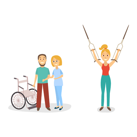 Flat disabled people with handicap equipment vector illustration.