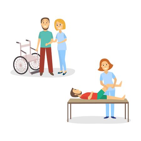 Ilustracja wektorowa wydarzenie rehabilitacji medycznej.