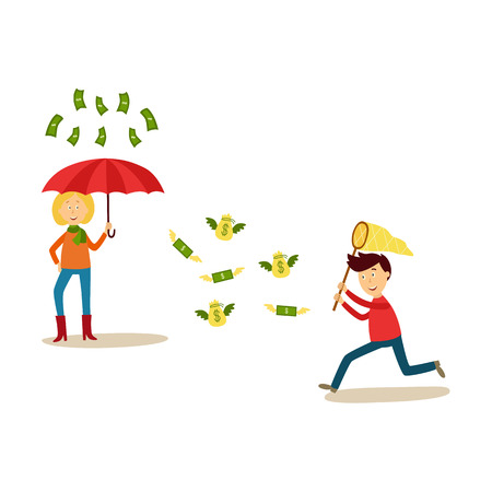 Flat people catching money scenes set vector illustration. Illustration