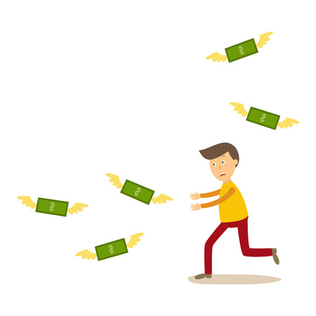 Flat cartoon man running for money vector illustration. Çizim