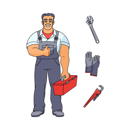 Cartoon muscular man holding case with tools vector illustration.