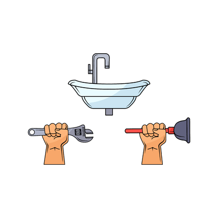 sink: Handyman muscular hand-holding tools vector illustration.