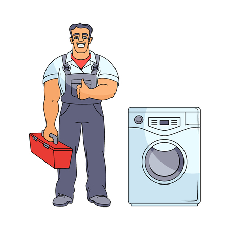 Cartoon handsome muscular man blumber in working uniform holding case with tools and washing machine vector illustration.