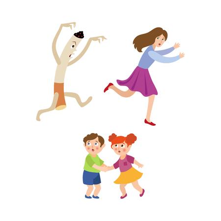 Huge evil cigarette chasing running after frightened woman and scared little children vector illustration. Illustration