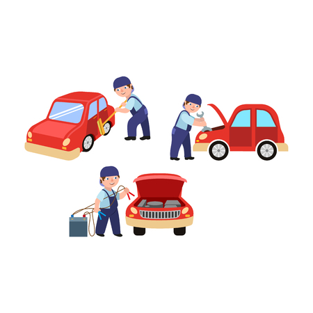 Auto mechanic cleaning, fixing and jump starting a car vector illustration. Иллюстрация