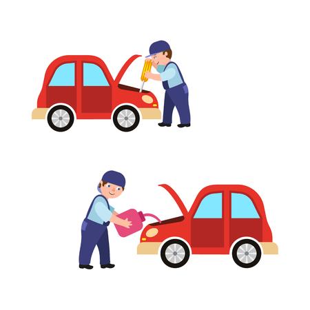 Auto mechanic fixing car engine vector illustration.