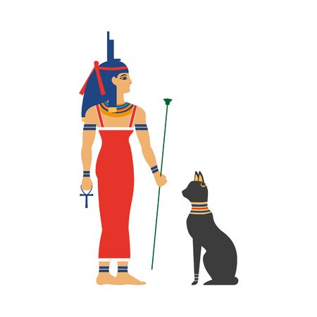 Flat Isis goddess vector illustration.