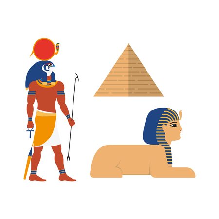 Flat egypt mythical symbols set vector illustration.