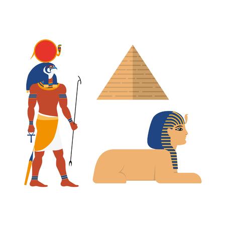 Los símbolos míticos planos de Egipto fijaron la ilustración del vector. Foto de archivo - 89677805
