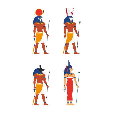 Flat egypt gods and goddess set vector illustration.