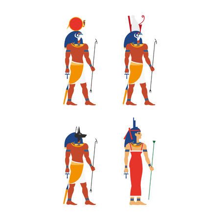 Flat egypt gods and goddess set vector illustration.