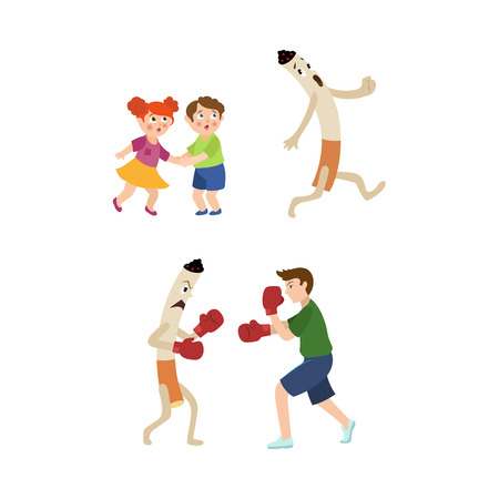 Young man fighting smoking habit in box gloves, frightened kids and huge cigarette running away vector illustration. Illustration