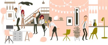 행복 한 사람들, 남자와 여자, 재미, 춤, 장식 된 사무실 환경, 평면 만화 벡터 일러스트 레이 션에서에서 회사 파티에서 마시는. 기업 파티, 사무실에서 일러스트