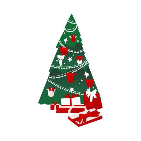 wektor kreskówka stylizowane święta bożego narodzenia nowy rok uroczysty Zdobione świerkowe drzewo z kulkami, girlandami i kokardkami, duży stos obecnej ikony pól. Na białym tle ilustracja na białym tle