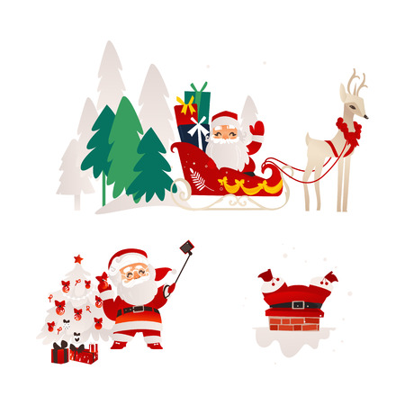 vector flat cartoon santa claus in christmas clothing riding reindeer flying sleigh smiling, stuck in the chimney on the roof and making selfie with present boxes set. Illustration isolated Banco de Imagens - 89167405