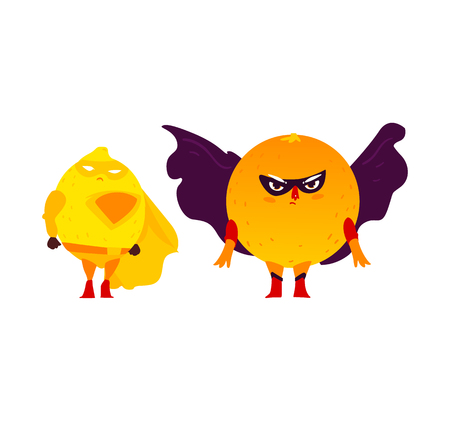 Funny orange and lemon fruit hero, superhero characters, guards, defender in mask and cape, flat style cartoon vector illustrations isolated on white background. Superhero orange and lemon characters
