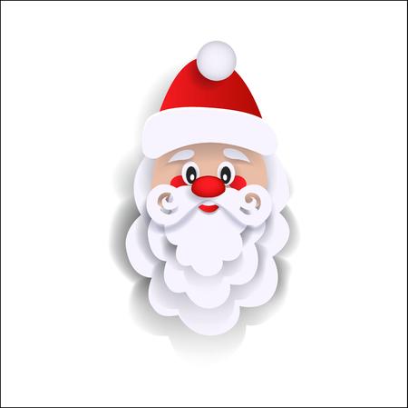 クリスマスグリーティングカードのためのサンタクロースの頭の装飾要素、白の背景に分離フラットスタイルのベクトルイラスト。フラットスタイ