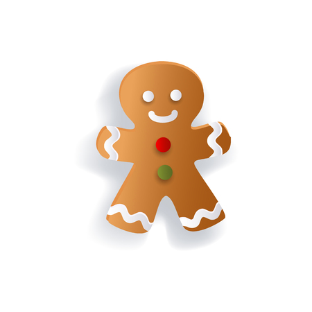 Gingerman decoration element for Christmas greeting cards, flat vector illustration isolated on white background, 3d paper cutout design. Flat gingerman, gingerbread Christmas decoration element