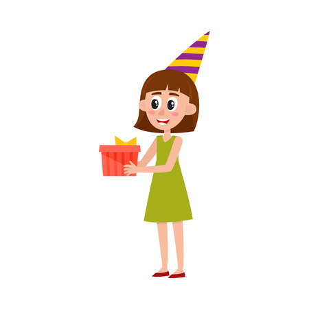 Pretty girl, woman in birthday hat holding, giving present box, cartoon vector illustration isolated on white background. Full length portrait of pretty girl with present box on birthday party