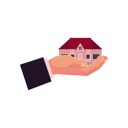 vector flat man hand in formal suit clothing holding in palm new house, home giving it. Real estate, property sale or rent, mortgage, insurance concept icon. Isolated illustration on white background