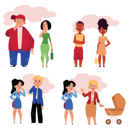 Set of people, men and women, smoking and suffering from secondhand smoke, cartoon vector illustration isolated on white background. Male and female smokers and victims of passive, secondhand smoking Ilustração