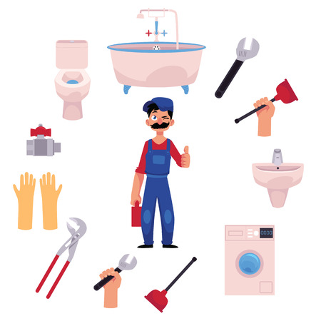 vector cartoon man blumber in uniform and mustache holding case with tools thumbs up, winking, water valve, plunger, pipe, monkey wrench and domestic blumbing. isolated illustration, white background Reklamní fotografie - 89167437