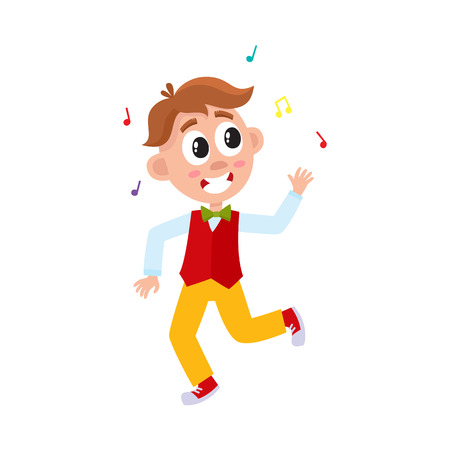 vector flat cartoon boy child dancing alone in red waistcoat throwing music confetti smiling. Little dancer male character. Isolated illustration on a white background. Kids party concept