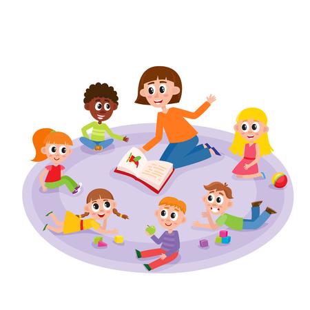 유치원 아이들과 교사 책, 만화, 흰색 배경에 고립 된 만화 벡터 일러스트 레이 션을 읽고. 여성 교사가 주위에 앉아 유치원 애들에게 관심을 가지고 듣