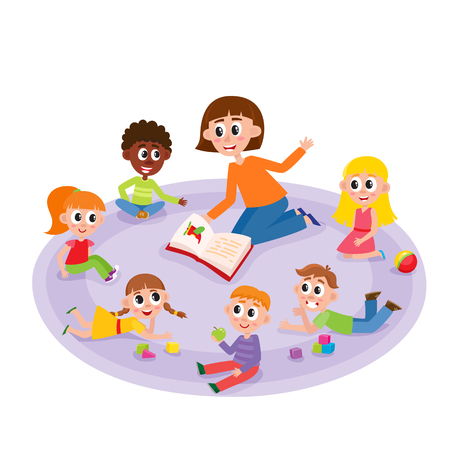 Kindergarten kids and teacher reading a book, comic, cartoon vector illustration isolated on white background. Female teacher reads a book to kindergarten kids sitting around, listening with interest