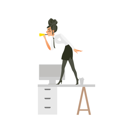 Happy woman, businesswoman, girl standing on table blowing horn at corporate party, flat cartoon vector illustration isolated on white background. Woman blowing horn on office table at corporate party