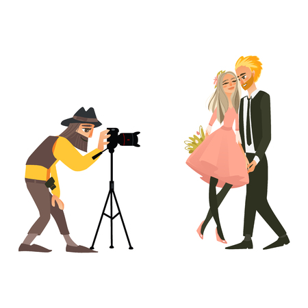 Photographer taking picture, shooting a wedding couple, flat cartoon vector illustration on white background. Professional photographer, working in studio, shooting a beautiful wedding couple