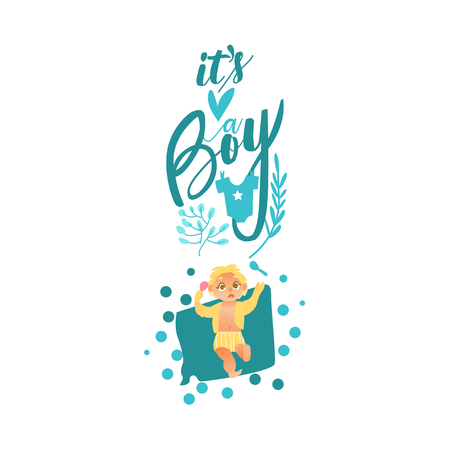 vector flat cartoon style newborn cute infant baby boy toddler in diaper or nappy smiling lying on his back, it s a boy inscription. Isolated illustration on a white background.
