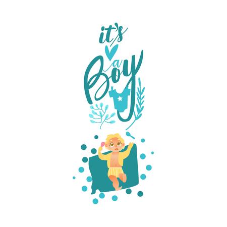 Vektor flachen Cartoon-Stil neugeborenen niedlichen Säugling Baby Boy Kleinkind in Windel oder Windel lächelnd auf dem Rücken liegend, es ist ein Junge Inschrift. Getrennte Abbildung auf einem weißen Hintergrund. Standard-Bild - 89167450